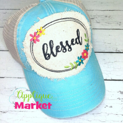 Oval Flowers Blessed Hat Patch