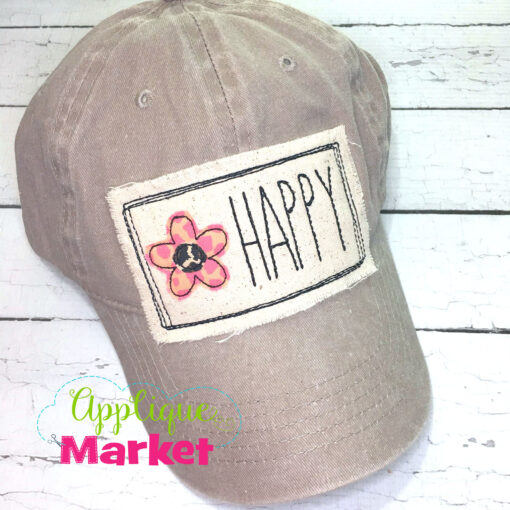 Rectangle Doodle Flower Happy