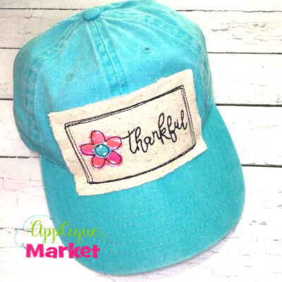 Rectangle Doodle Flower Thankful Hat Patch