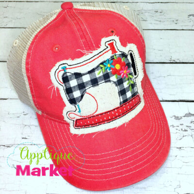 Sewing Machine Flowers Applique Hat Patch