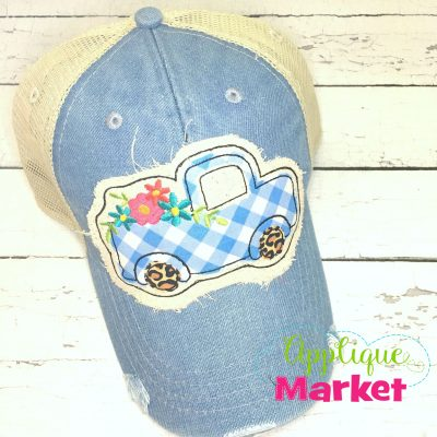 Vintage Truck Flowers Hat Patch