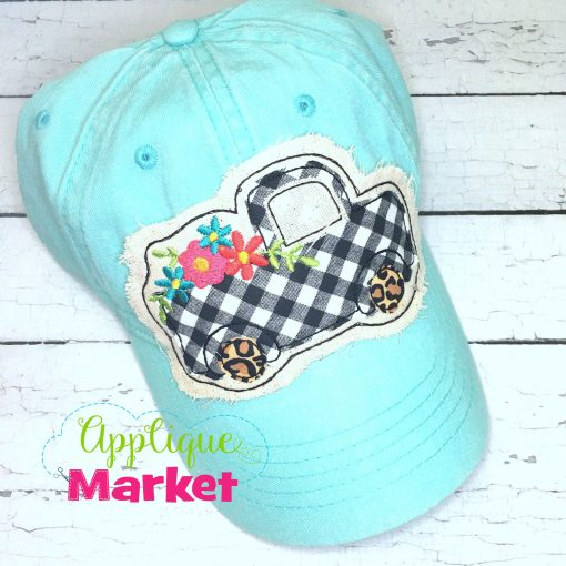 Vintage Truck Flowers Hat Patch Aqua