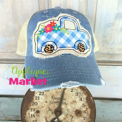 Vintage Truck Flowers Hat Patch Scale