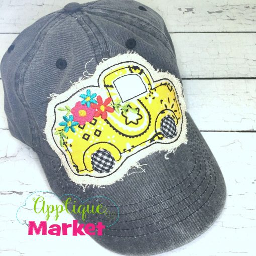 Vintage Truck Flowers Hat Patch Yellow