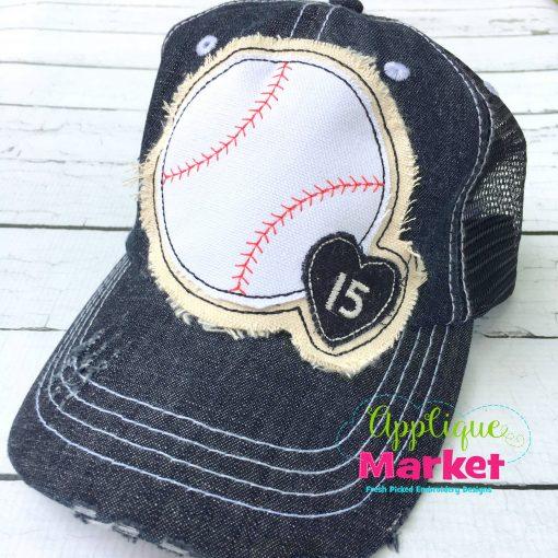 Baseball Small Heart Hat Patch