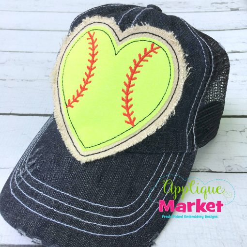 Baseball Heart Hat Patch