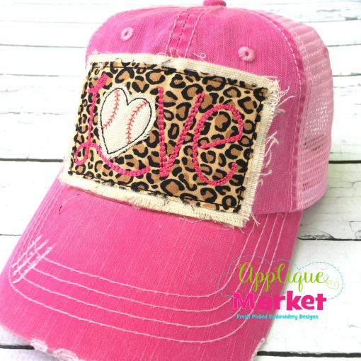 Baseball Love Hat Patch Pink
