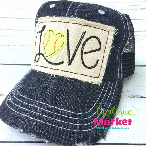 Baseball Love Rectangle Hat Patch