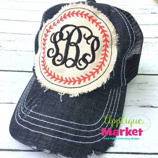 Baseball Circle Monogram Hat Patch