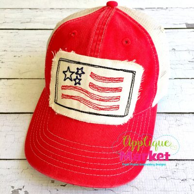 Flag Rectangle Hat Patch Applique