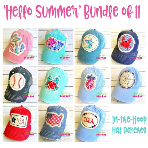 In the Hoop Hat Patches Hello Summer Bundle