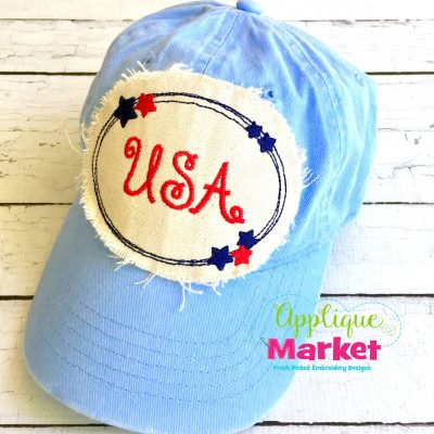 Oval Stars USA Hat Patch Applique