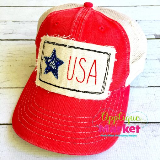 Star USA Rectangle Hat Patch Applique