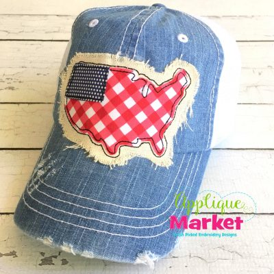 USA Flag Hat Patch Applique