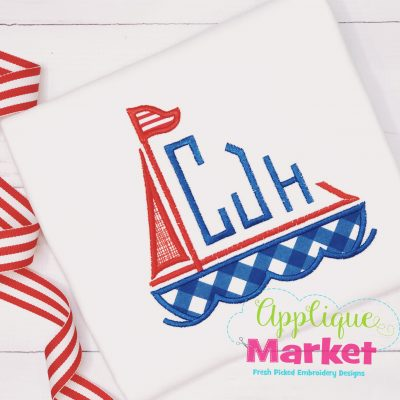 Sailboat Monogram Applique