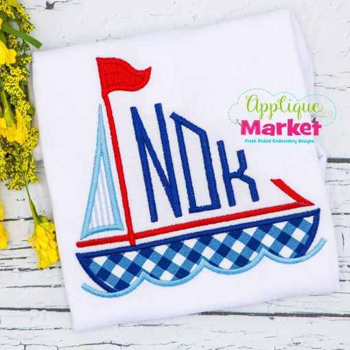 Sailboat Monogram Applique Sample