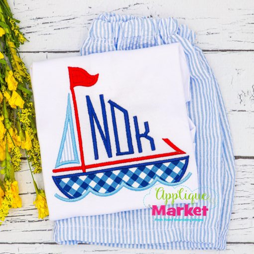 Sailboat Monogram Applique Short Set
