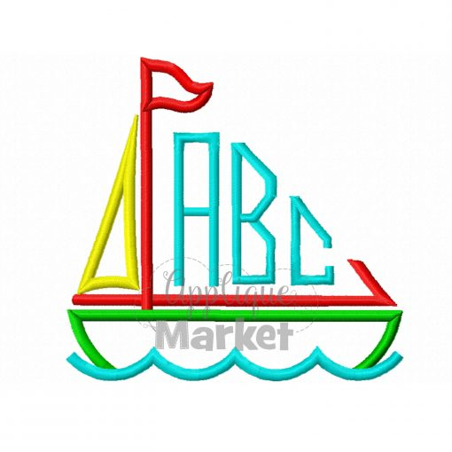 Sailboat Monogram Satin