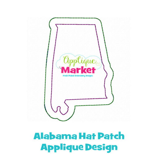 Alabama Hat Patch Applique Design