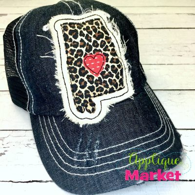 Alabama Outline Applique Hat Patch
