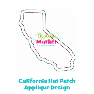 California Hat Patch Applique Design