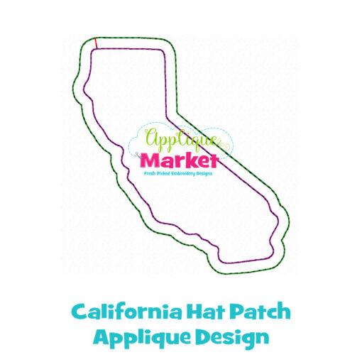 California Hat Patch Applique Design