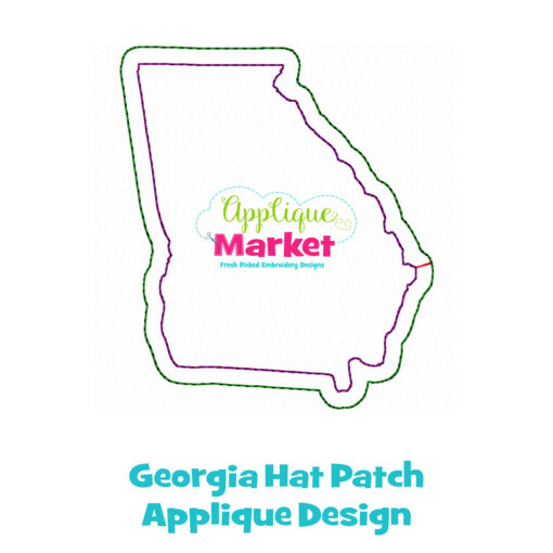 Georgia Hat Patch Applique Design