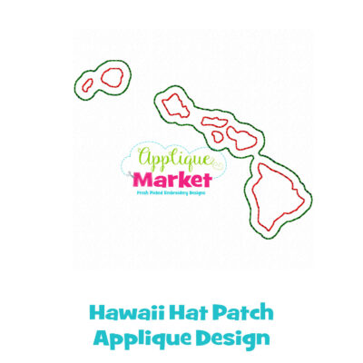 Hawaii Hat Patch Applique Design
