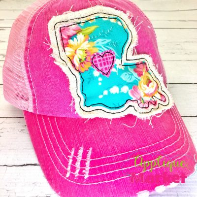 Louisiana Outline Applique Hat Patch