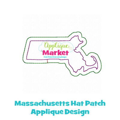 Massachusetts Hat Patch Applique Design