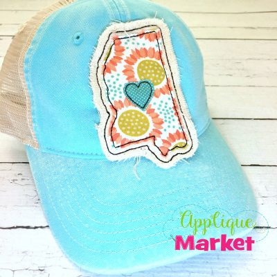 Mississippi Outline Applique Hat Patch