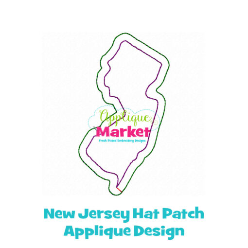 New Jersey Hat Patch Applique Design