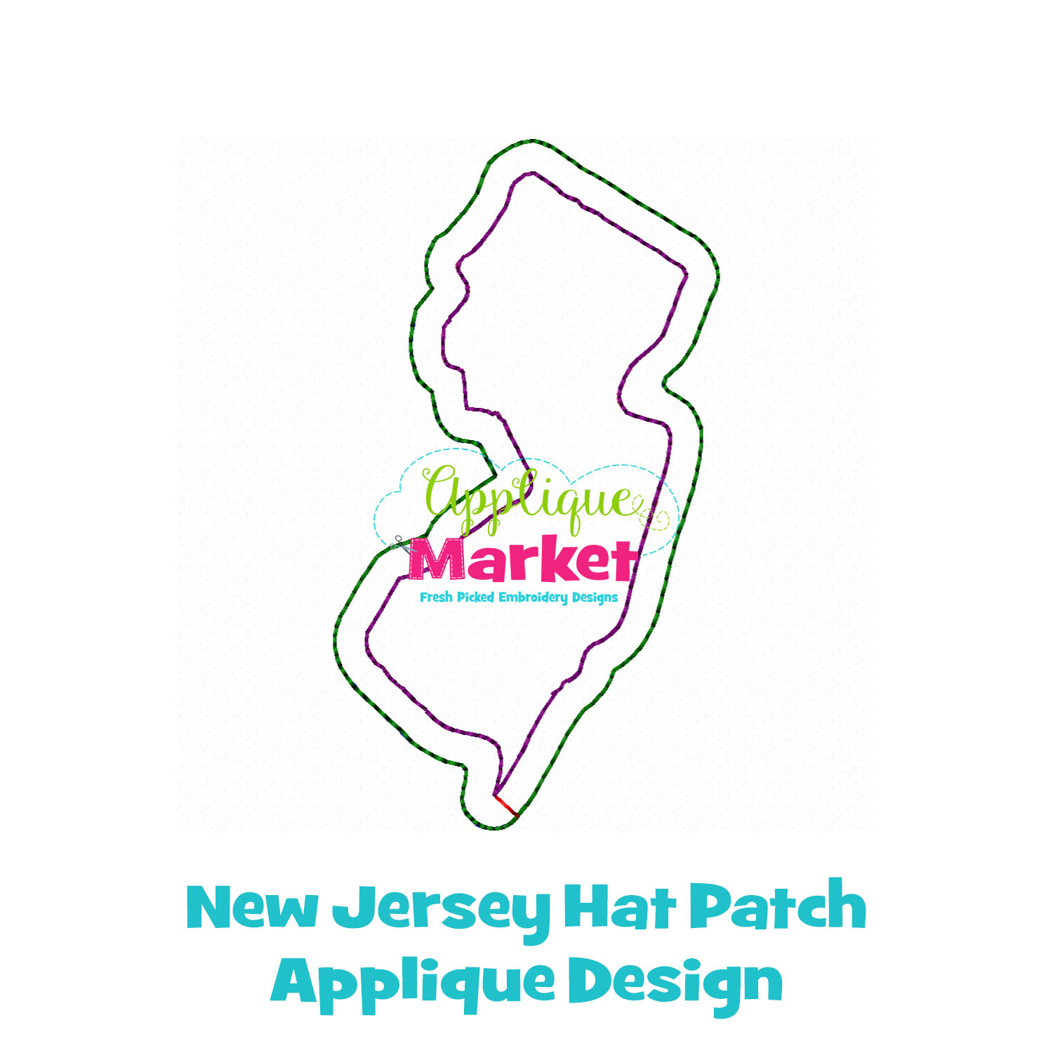 New Jersey State Outline Hat Patch
