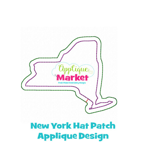 New York Hat Patch Applique Design