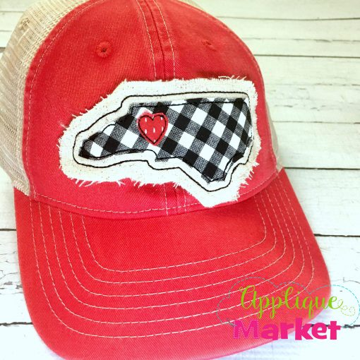 North Carolina Outline Appliuqe Hat Patch