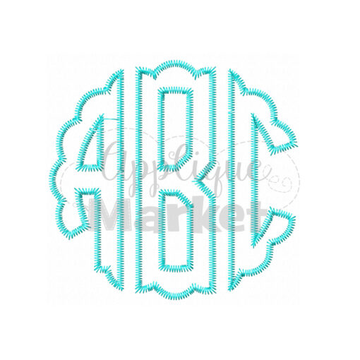 Scallop Circle Monogram Zig Zag