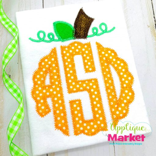 Scallop Circle Monogram Zig Zag Pumpkin Topper