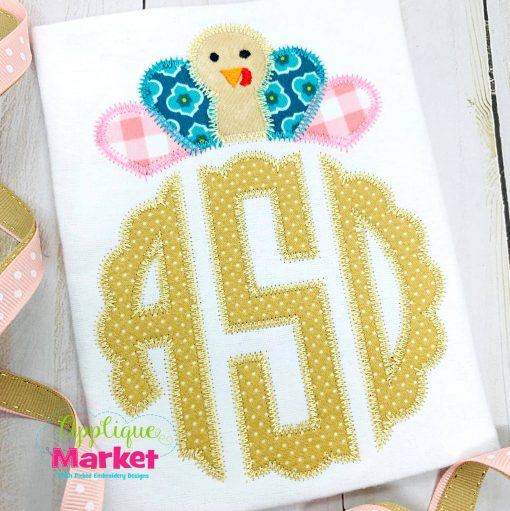 Scallop Circle Monogram Zig Zag Turkey Topper