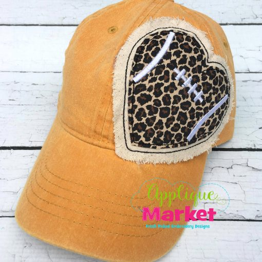 Football Heart Hat Patch Applique