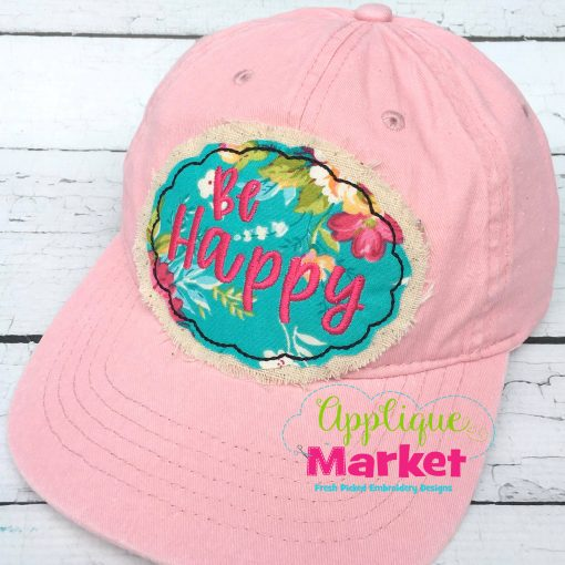 Oval Scallop Bean Stitch Hat Patch Applique