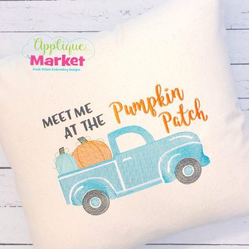 Pumpkin Patch Truck Sketch Pillow