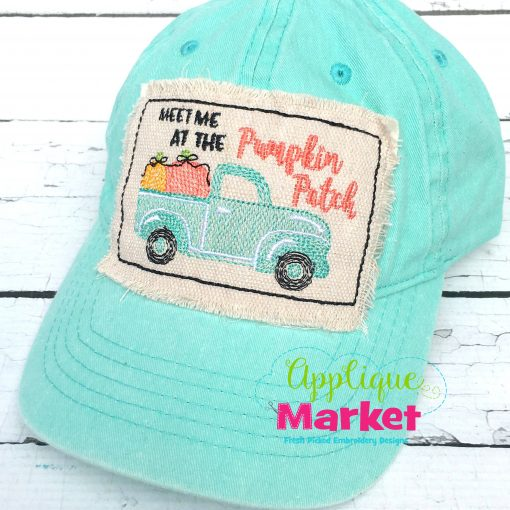 Truck Pumpkin Patch Hat Patch Applique