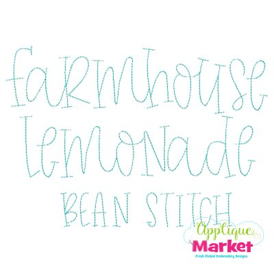 Farmhouse Lemonade Bean Stitch Font