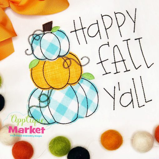 Happy Fall Yall Stacked Pumpkin Applique Design