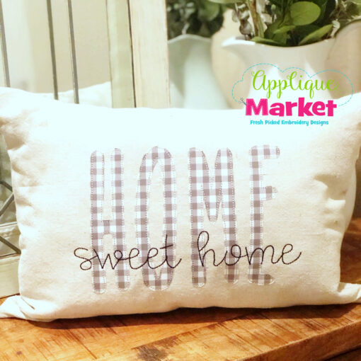 Skinny Farmhouse Applique Font Home Pillow
