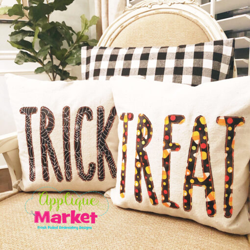 Skinny Farmhouse Applique Trick or Treat Pillows