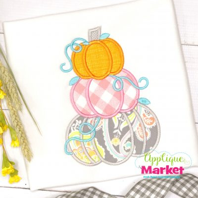 Stacked Pumpkins Applique Satin