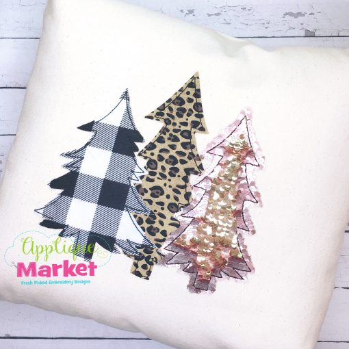 Winter Trees Bean Stitch Applique Pillow