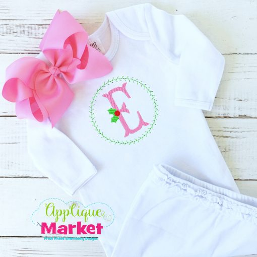 Fishtail Holly Sketch Embroidery Font Baby Gown