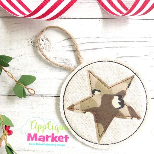 Army Star In the Hoop Ornament